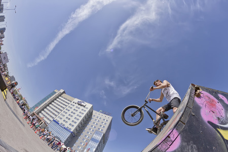 exemplary: VOLGOGRAD - MAY 24:Athlete bike BMX preparing for exemplary performance. The fifth annual competition for the Cup of Europe city Mall . May 24, 2015 in Volgograd, Russia.