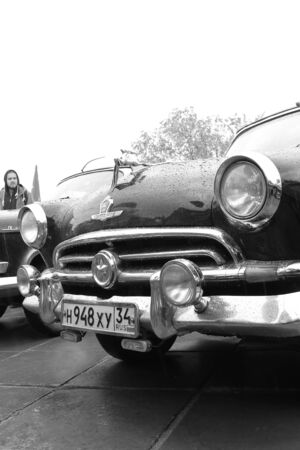 cowl: VOLGOGRAD - MAY 9:Exhibition of vintage cars of the Soviet era during the celebration of the great victory in the rain.  May 9, 2015 in Volgograd, Russia.