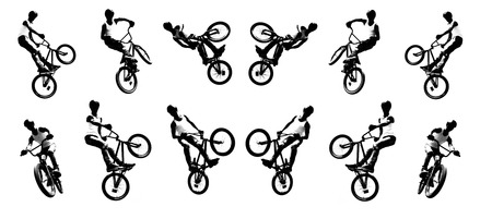 one wheel bike: Vector image of a cyclist performing feints and tricks Illustration