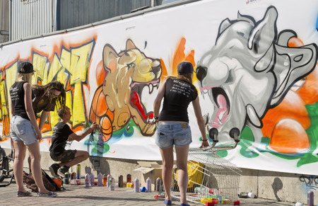 VOLGOGRAD - MAY 24: The street contest drawing - graffiti on the theme : Sport is my life. The fifth annual competition for the Cup of Europe city Mall. May 24, 2015 in Volgograd, Russia.