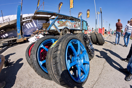 pirelli: VOLGOGRAD - JUNE 6: Spare wheels, rims and tires at mobile tire drift team Round-X is available for viewing after the presentation. June 6, 2015 in Volgograd, Russia.