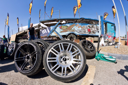rims: VOLGOGRAD - JUNE 6: Spare wheels, rims and tires at mobile tire drift team Round-X is available for viewing after the presentation. June 6, 2015 in Volgograd, Russia.