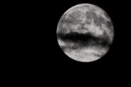 The early phase of the moon close up Stock Photo