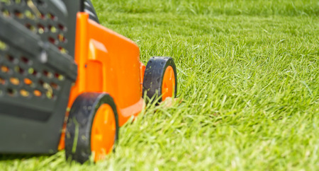 Electric lawn mower is a beautiful green lawn