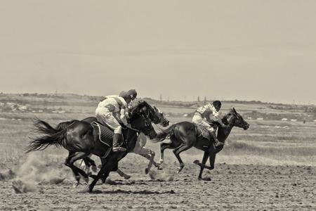 competitividad: PEQUE�O CHAPURNIKI, Volgogrado, Rusia - 24 de mayo: La lucha por la posici�n de liderazgo en los caballos de carreras durante las carreras de caballos dedicados a la celebraci�n de la Sabantuy. 24 de mayo 2014 en Volgogrado, Rusia.