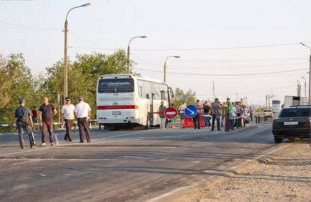 thorough: VOLGOGRAD - AUGUST 10: Thorough passport control all intercity buses, the post of police at the entrance to the city . August 9, 2015 in Volgograd, Russia.