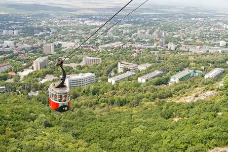 pyatigorsk: PYATIGORSK, RUSSIA - AUGUST 7: Old ropeway lifts tourists on an excursion on mount Mashuk. August 7, 2015 in Pyatigorsk, Russia.