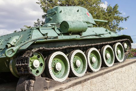 t34: T-34 tank was installed in memory of the heroic events of the second world Editorial