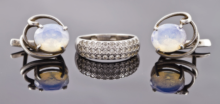 fine silver: set of fine silver jewelry : ring and earrings with moonstone