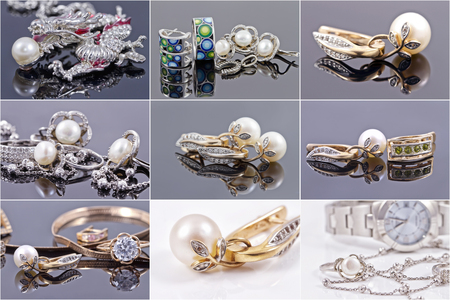 silver jewelry: set of photos : jewelry of gold and silver with pearls