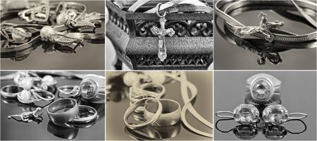 silver jewelry: selection of black-and-white photographs of gold and silver jewelry