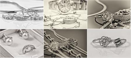 Selección de fotos en blanco y negro y de oro y plata de la joyería Foto de archivo - 48065897