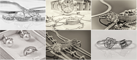 selection of black-and-white photos of gold and silver jewelry Archivio Fotografico