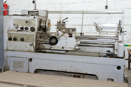 milling center: Workplace turners are equipped with old Soviet lathe Stock Photo
