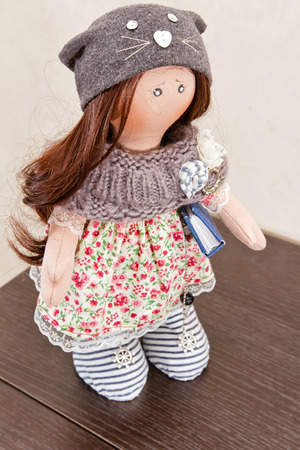 rag doll: Collectible rag doll handmade with natural hair
