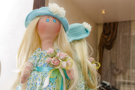 rag doll: Collectible rag doll handmade with natural hair in blue hat
