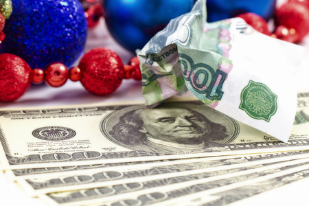 depreciation: Concept : depreciation of the Russian ruble against other major currencies ahead of Christmas holidays