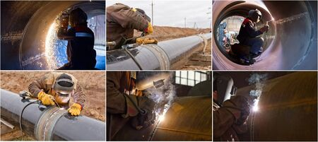 skilled labour: Photos : welding of large diameter pipes by manual arc welding Stock Photo