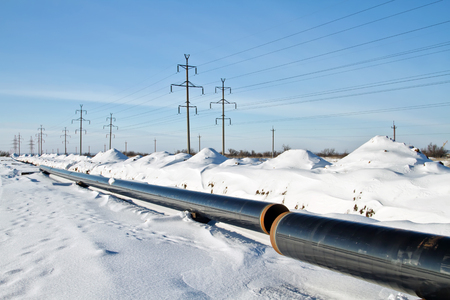 construction and installation of underground gas pipeline of high pressure in winter conditions Stok Fotoğraf - 50655389
