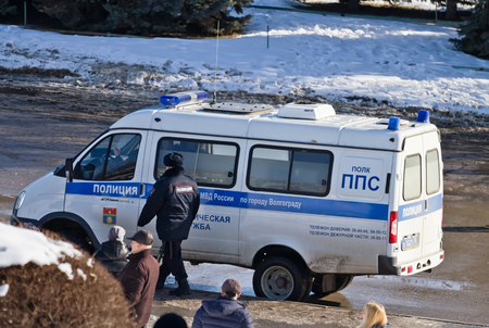 security uniform: VOLGOGRAD - JANUARY 30:The van patrol and inspection service of the police is used as the reference point for the protection of cultural events . January 30, 2016 in Volgograd, Russia.