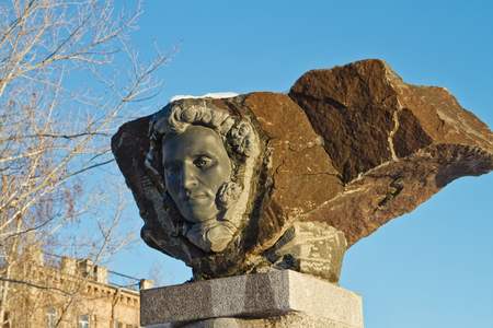alexander great: VOLGOGRAD - JANUARY 30: The monument to the great Russian poet Alexander Pushkin carved from stone blocks. January 30, 2016 in Volgograd, Russia.