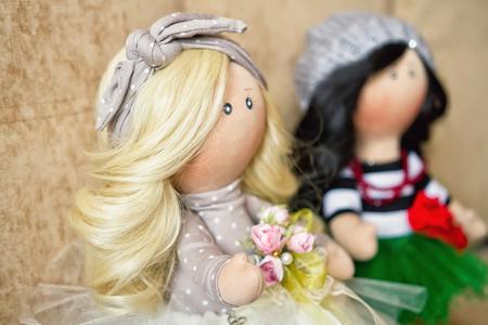 polka dot dress: Souvenir handmade doll with natural hair in polka dot dress