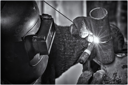 argon: Welding control sample from a pipe of small diameter for proficiency testing by the method of argon-arc welding Stock Photo