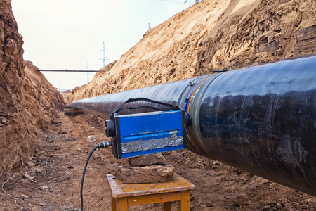 radiographic control of fixed welded joints of gas supply piping high pressure inside the trench