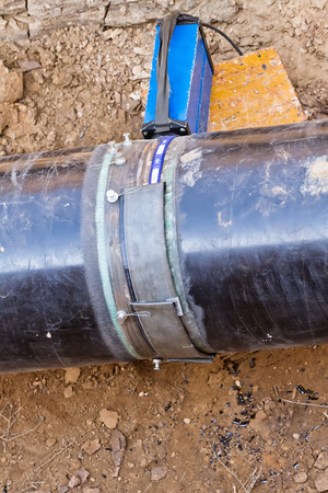 gas supply: radiographic control of fixed welded joints of gas supply piping high pressure inside the trench Stock Photo