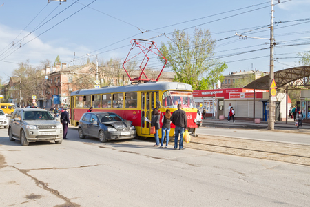 electric tram: VOLGOGRAD - April 19: car accident on the tram tracks prevents normal movement of urban electric transport. April 19, 2016 in Volgograd, Russia.