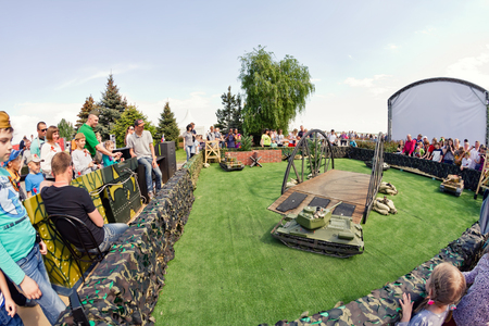 t34: VOLGOGRAD - MAY 9:The game models of tanks on the remote control in a special area at the Museum panorama of Stalingrad battle . May 9, 2016 in Volgograd, Russia.