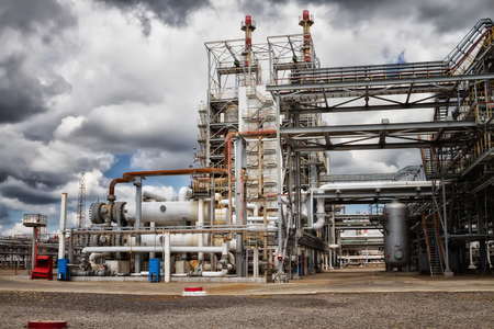 The unit of heat exchangers and columns for chemical reprocessing of crude oil Stock Photo