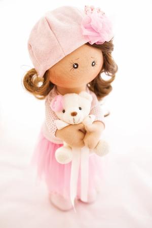 rag doll textile handmade with natural hair Standard-Bild