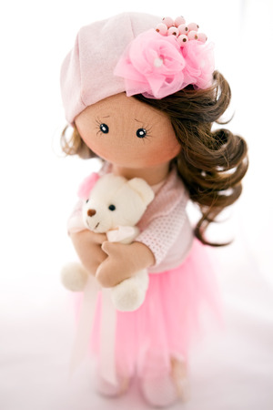 rag doll: rag doll textile handmade with natural hair Stock Photo