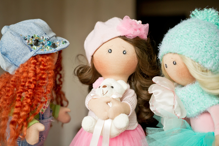 rag doll: Three rag doll textile handmade with natural hair Stock Photo