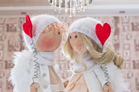 Textile doll handmade with natural hair - a couple of angels