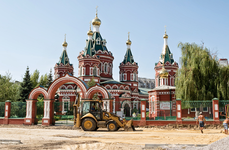VOLGOGRAD, RUSSIA - AUGUST 22: Renovations at the building of the Kazan Cathedral. August 22, 2016 in Volgograd, Russia. Editorial