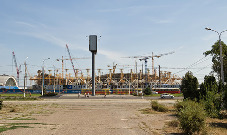erection: VOLGOGRAD, RUSSIA - AUGUST 22: Construction works on erection of steel structures of the stadium Victory for the world Cup 2018. August 22, 2016 in Volgograd, Russia.