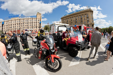 VOLGOGRAD - SEPTEMBER 10: Specially equipped firefighting motorcycle armed with special fire brigade. September 10, 2016 in Volgograd, Russia.