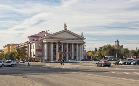 experimental: VOLGOGRAD - OCTOBER 6: The building of the new experimental theatre on the forecourt. October 6, 2016 in Volgograd, Russia.