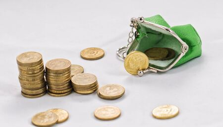 plated: Gold plated coins are in stacks to increase against the background of a simple purse with coins