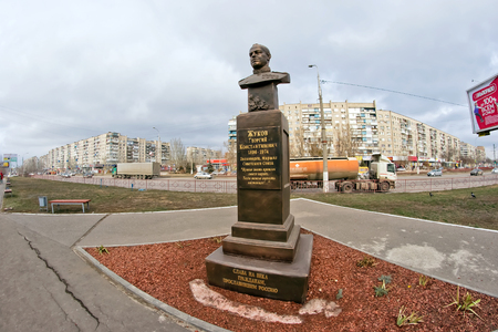 VOLGOGRAD - NOVEMBER 27: The statue of military commander, Marshal of Soviet Union Georgy Zhukov installed in southern part of city. November 27, 2016 in Volgograd, Russia. Editorial