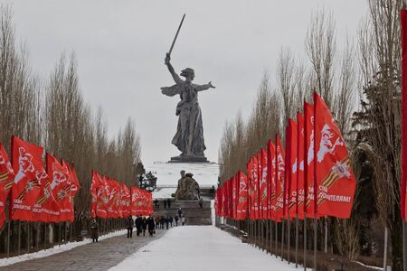 heroism: VOLGOGRAD - FEBRUARY 5: The memorial complex Mamaev Kurgan decorated with flags in honor of the anniversary of victory at Stalingrad. February 5, 2017 in Volgograd, Russia.