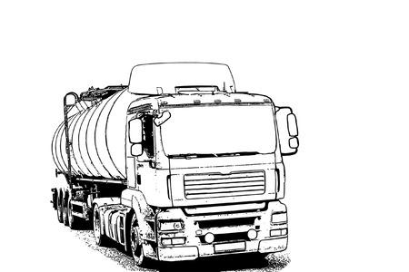 Vector: vrachtwagen met een tank voor het vervoer van aardolieproducten