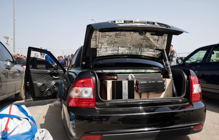 subwoofer: VOLGOGRAD, RUSSIA - APRIL 29: A car with a large number of installed audio speakers and subwoofer to compete in car audio. April 29, 2017  in Volgograd, Russia.