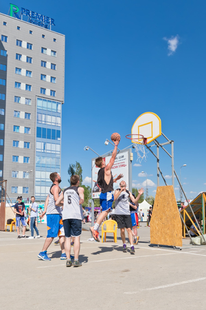 VOLGOGRAD, RUSSIA - MAY 27: Unidentified young people play in streetball on the open area located next to the dancing bridge , on May 27, 2017 in Volgograd, Russia. Editorial