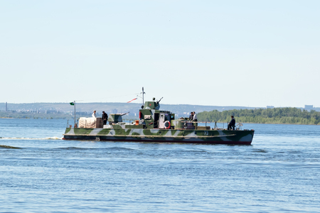 VOLGOGRAD - MAY 29: Reconstructed by enthusiasts from Togliatti warship during the second world war, sailing on the Volga. May 29, 2017 in Volgograd, Russia.