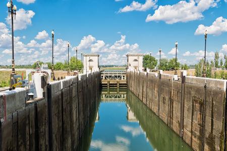 navy pier: VOLGOGRAD - JUNE 19: empty airlock waterworks ship canal before filling with water. June 19, 2017 in Volgograd, Russia.
