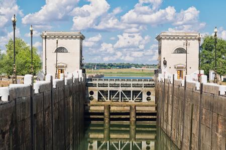 VOLGOGRAD - JUNE 19: empty airlock waterworks ship canal before filling with water. June 19, 2017 in Volgograd, Russia.