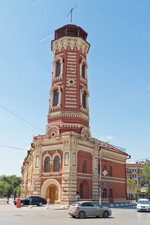VOLGOGRAD - JUNE 8: The former fire station with watch tower, built in Tsaritsyn in 1897. June 8, 2017 in Volgograd, Russia.